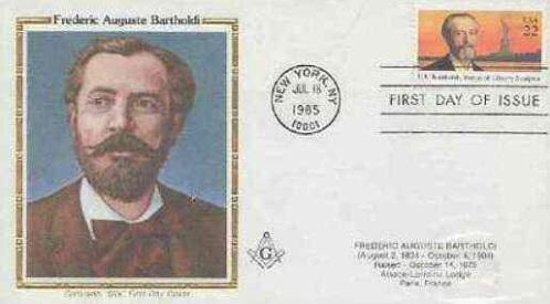 Frédéric Auguste Bartholdi, sculpteur de la Statue de la Liberté, sur une Carte Maçonnique
