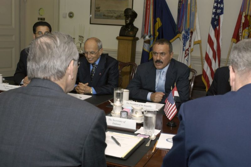 Ali Abdullah Saleh meets Donald H. Rumsfeld at Pentagon 2004