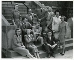 Front_row_(left_to_right)-_Cornelia_V._Christenson;_Mrs._Leser;_Clyde_E._Martin._Arranged_on_steps_(left_to_right)-_Mrs._Brown;_Paul_H._Gebhard;_William_Dellenback;_Alfred_E._Kinsey;_Wardell_B