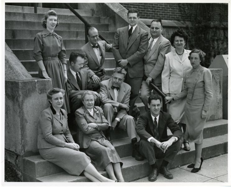 Front_row_(left_to_right)-_Cornelia_V._Christenson;_Mrs._Leser;_Clyde_E._Martin._Arranged_on_steps_(left_to_right)-_Mrs._Brown;_Paul_H._Gebhard;_William_Dellenback;_Alfred_E._Kinsey;_Wardell_B