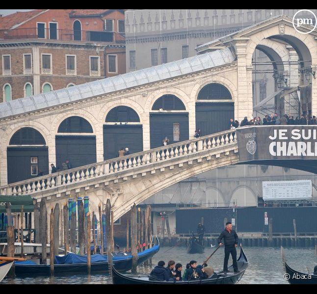 Un Je suis Charlie à Venise © Abaca
