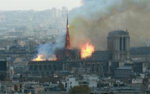 Paris, lundi 15 avril 2019. Un incendie a éclaté sur la toiture de la cathédrale Notre Dame de Paris. LP/Olivier Arandel