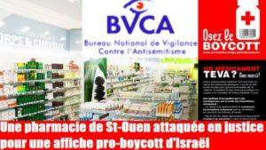 Le BNVA porte plainte contre une pharmacie appelant au boycott de médicaments israëliens