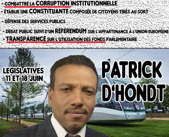 Tract de Patrick D'Hondt distribué pour sa campagne dans la 1ère circonscription de Seine-Saint-Denis.